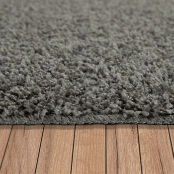 Deep Pile Living Room Rug Washable Shaggy Non-Slip One Colour In Grey – Bild 2
