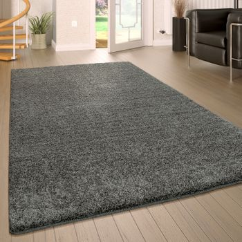 Deep Pile Rug Washable One Colour Grey