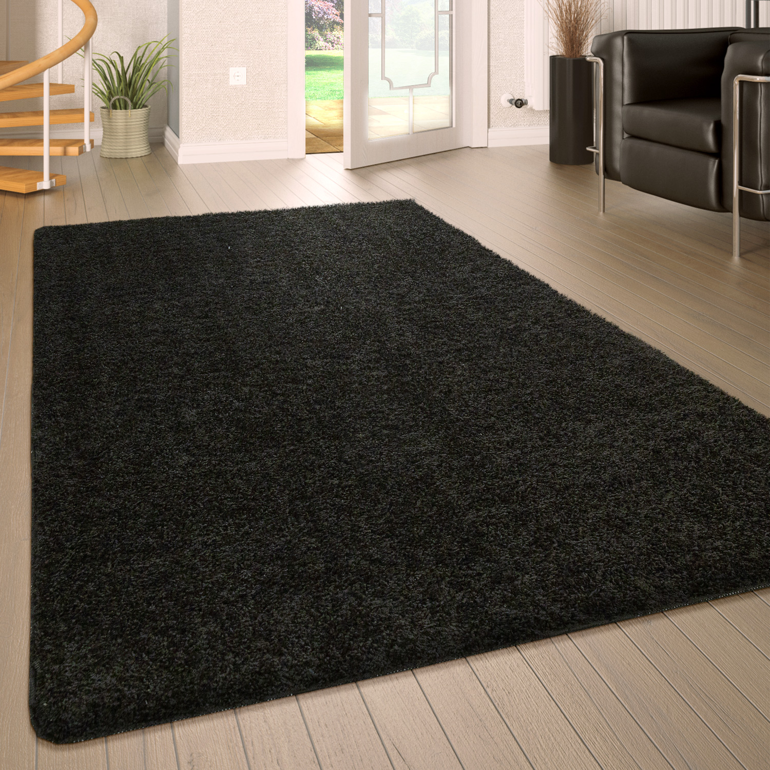 Deep Pile Living Room Rug Washable Shaggy Non-Slip One Colour In Black