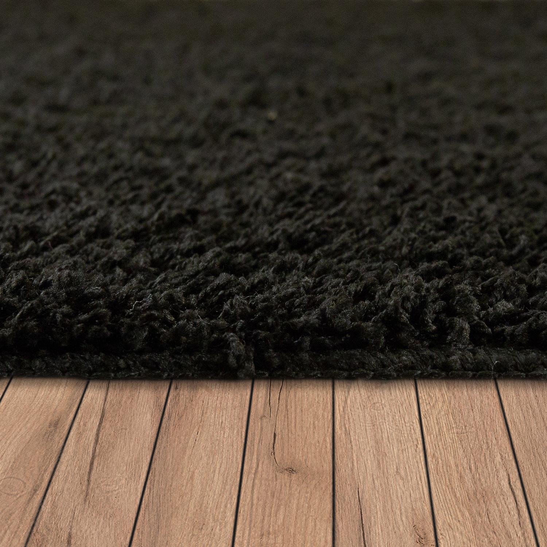 hochflor teppich waschbar einfarbig schwarz hochflor teppiche. Black Bedroom Furniture Sets. Home Design Ideas