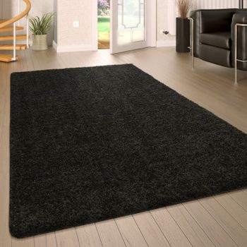 Deep Pile Rug Washable One Colour Black