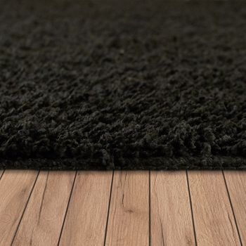 Deep Pile Living Room Rug Washable Shaggy Non-Slip One Colour In Black – Bild 2