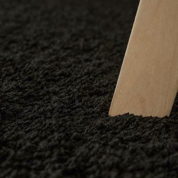 Deep Pile Living Room Rug Washable Shaggy Non-Slip One Colour In Black – Bild 3