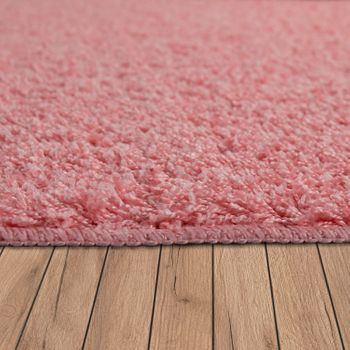 Tapis Salon Poils Longs Lavable Shaggy Antidérapant Uni Rose – Bild 2