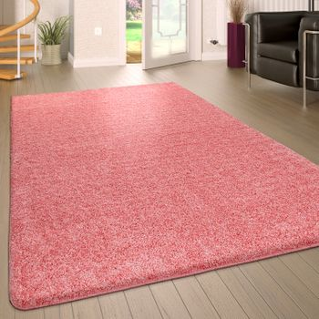 Tapis Poils Longs Lavable Uni Rose