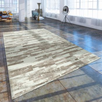 Short Pile Living Room Rug Used Look With Natural Stone Appearance In Beige Cream – Bild 1