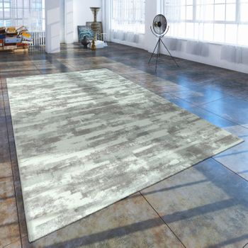 Short Pile Living Room Rug Used Look With Natural Stone Appearance In Grey White – Bild 1