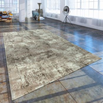 Short Pile Living Room Rug Used Look Abstract Painted Appearance Cream Beige – Bild 1