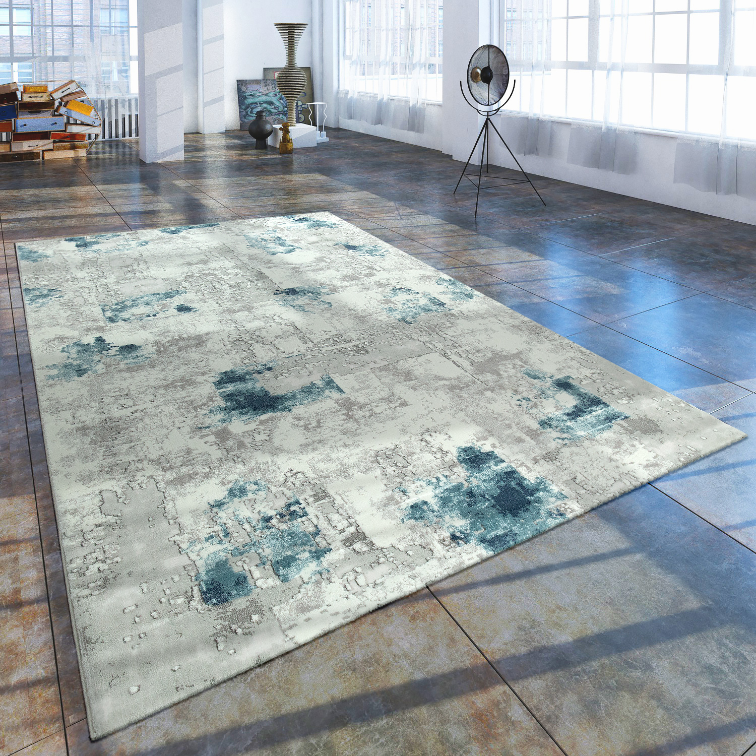 Short Pile Living Room Rug Used Look Abstract Painted Appearance Grey Blue