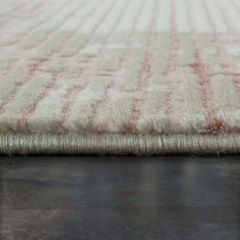 Short Pile Living Room Rug Used Look Abstract Corduroy Appearance In Cream Pink – Bild 2