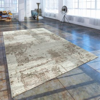 Short Pile Living Room Rug Used Look Abstract, Corduroy Appearance In Cream Beige – Bild 1