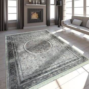 Modern Rug With Printed Floral Pattern Trendy Design Beige Brown – Bild 1