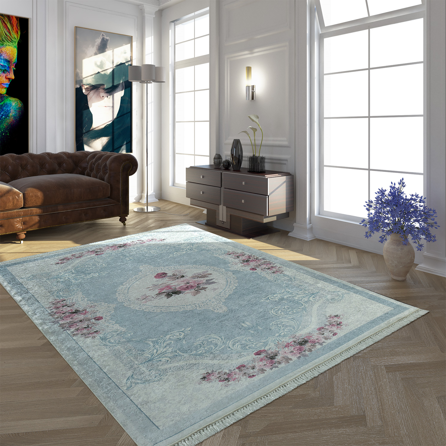 Modern Rug With Printed Vintage Pattern Trendy Design Pink Blue
