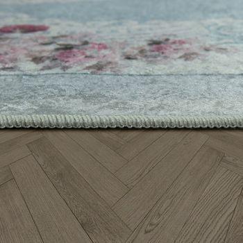 Moderner Teppich Mit Bedrucktem Vintage Muster Trend Design Rosa Blau – Bild 2