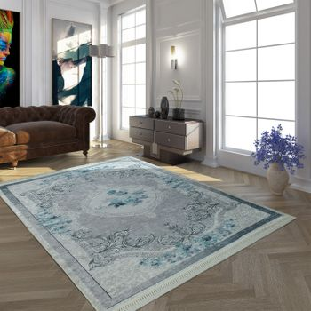 Modern Rug With Printed Vintage Pattern Trendy Design Grey Turquoise – Bild 1