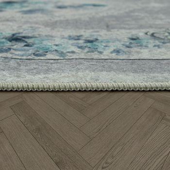 Moderner Teppich Mit Bedrucktem Vintage Muster Trend Design Grau Türkis – Bild 2