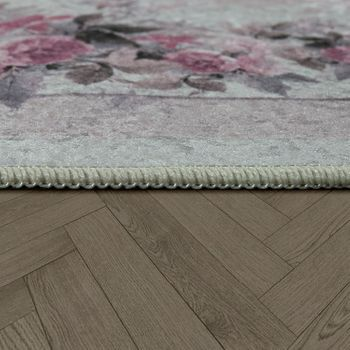 Modern Rug With Printed Vintage Pattern Trendy Design Pink Cream – Bild 2