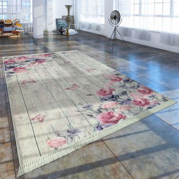 Modern Rug With Printed Vintage Pattern Trendy Design Pink Cream – Bild 1