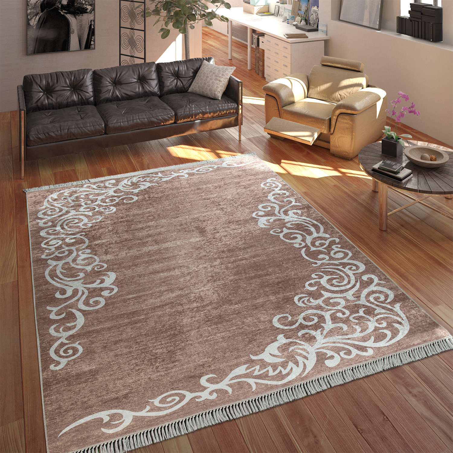 Modern Rug With Printed Tendril Pattern Trendy Design Beige White