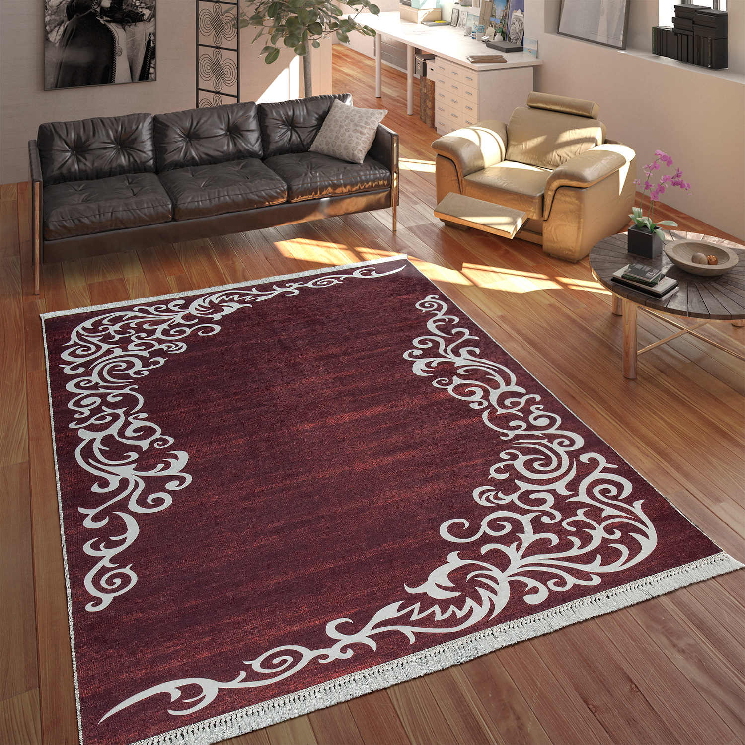 Modern Rug With Printed Tendril Pattern Trendy Design Red White