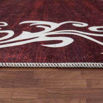 Modern Rug With Printed Tendril Pattern Trendy Design Red White – Bild 2