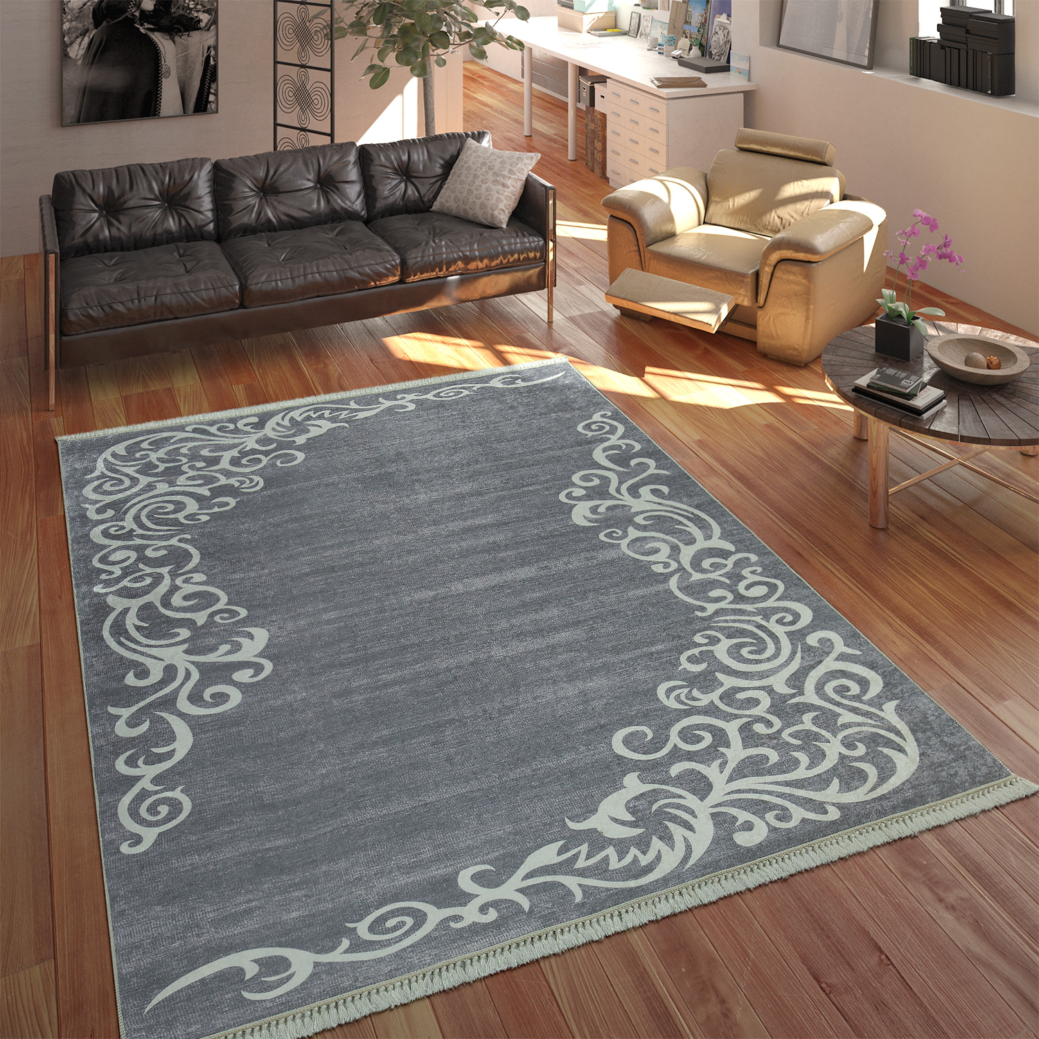 Modern Rug With Printed Tendril Pattern Trendy Design Grey White