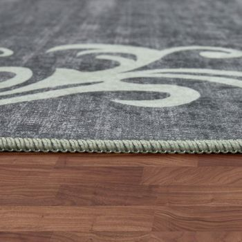 Modern Rug With Printed Tendril Pattern Trendy Design Grey White – Bild 2