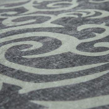 Alfombra Moderna Con Estampado De Enredadera Diseño De Moda Gris Blanco – Bild 3