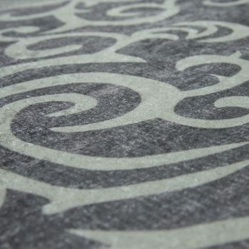 Tapis Moderne Avec Motif Feuillage Imprimé Design Tendance Gris Blanc – Bild 3
