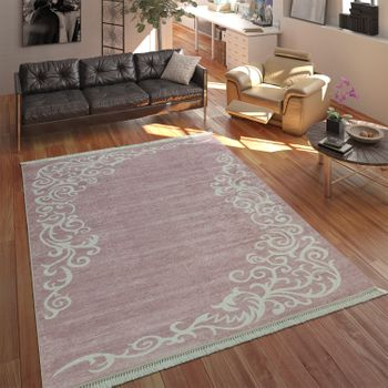 Modern Rug With Printed Tendril Pattern Trendy Design Pink White – Bild 1