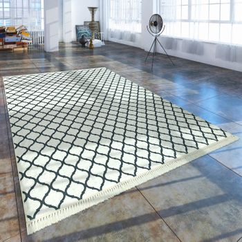 Modern Rug With Printed Moroccan Pattern Trendy Black White – Bild 1