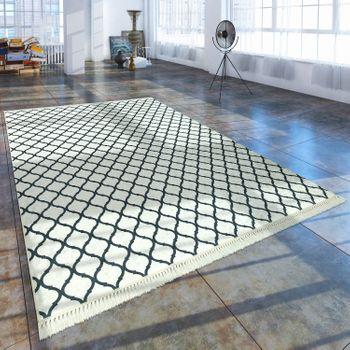 Trend Teppich Marokkanisches Muster Schwarz Weiß