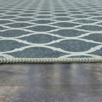 Modern Rug With Printed Moroccan Pattern Trendy Grey White – Bild 2