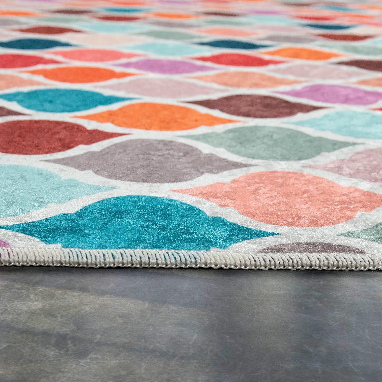 moderner teppich mit bedrucktem marokkanischen muster trend mehrfarbig bunt teppiche orient optik. Black Bedroom Furniture Sets. Home Design Ideas