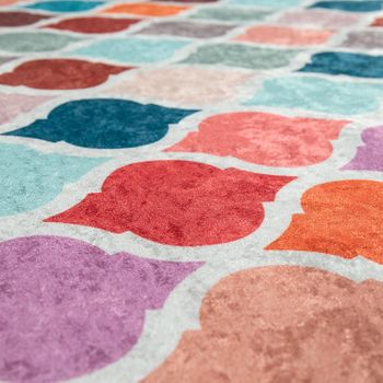 Modern Rug With Printed Moroccan Pattern Trendy Multi-Coloured Colourful – Bild 3