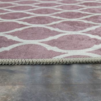 Tapis Moderne Avec Motif Marocain Imprimé Design Tendance Rose Blanc – Bild 2