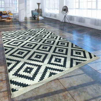 Modern Rug With Trendy Printed Diamond Pattern Scandinavian Look Black White – Bild 1