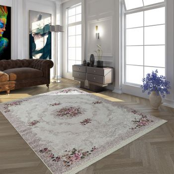 Modern Rug With Trendy Printed Pattern Oriental Design in Beige Cream Pink – Bild 1