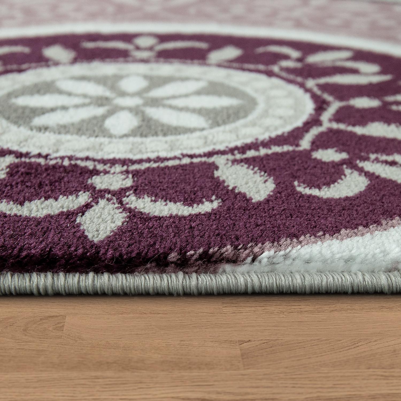 edler designer teppich mit orient muster ornamente mandala grau lila wei teppiche orient optik. Black Bedroom Furniture Sets. Home Design Ideas