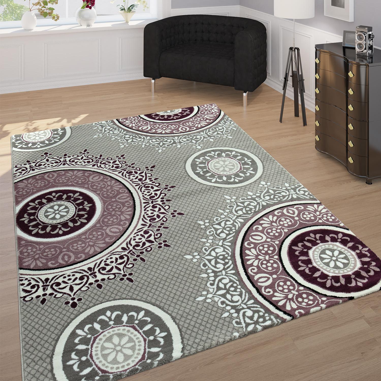 designer teppich mandala muster grau lila teppichcenter24. Black Bedroom Furniture Sets. Home Design Ideas