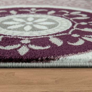 Elegant Designer Rug With Oriental Pattern Ornamental Mandala Grey Purple White – Bild 2