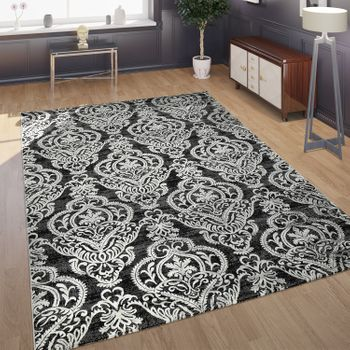 Tapis Effet 3D Ornements Anthracite