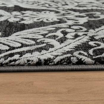 Designer Teppich Moderne Orient Muster 3D Wohnzimmerteppich Anthrazit Grau Weiß – Bild 2