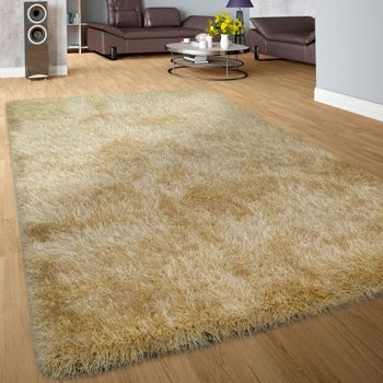 Shaggy Deep-Pile Rug Modern Soft Yarn With Glitter In Plain Gold – Bild 1