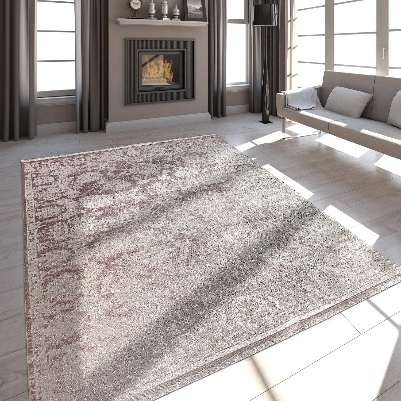 Hochwertiger Wohnzimmer Teppich Moderne Satin Optik Barock Design
