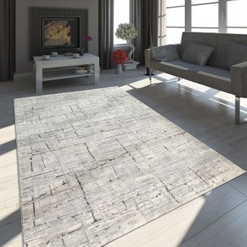 Oriental Rug Modern 3D Effect Mottled Shimmering Checked Pattern In Grey – Bild 1