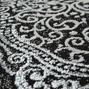 Oriental Rug Modern 3D Effect Mottled Shimmering Ornaments In Black White – Bild 3