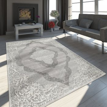 Oriental Rug Modern 3D Effect Mottled Shimmering Ornaments In Grey White – Bild 1