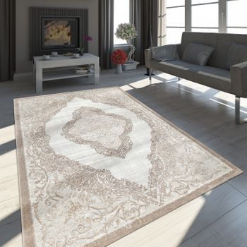 Oriental Rug Modern 3D Effect Mottled Shimmering Ornaments In Grey Gold – Bild 1