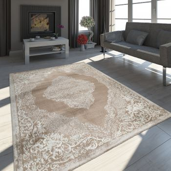 Oriental Rug Modern 3D Effect Mottled Shimmering Ornaments In Beige Cream – Bild 1